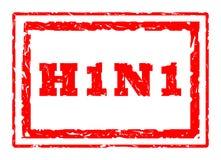 Swine Flu. H1N1 Swine Flu virus strain rectangular stamper isolated on white background Stock Photos