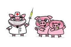 Swine Flu. H1N1 Swine flu funny illustration Royalty Free Stock Photo
