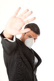 Swine flu. Hand symbol man wearing mask protecting vor virus Royalty Free Stock Photography
