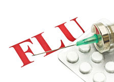 Swine FLU H1N1 - Closeup of pills and syringe Royalty Free Stock Photography