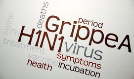 Swine flu H1N1 disease with virus Stock Photos
