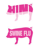 Swine flu H1N1 icons. Icons of pigs for Swine flu and H1N1 outbreaks Stock Photos