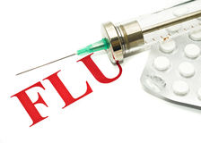 Swine FLU H1N1 - old-fashioned syringe and pills Royalty Free Stock Photography