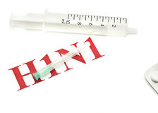 Swine FLU H1N1 -  red alert, pills and syringe Stock Photography