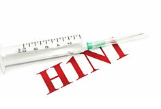 Swine FLU H1N1 - syringe and red alert Royalty Free Stock Photo