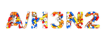 Swine Flu H3N2 alert - word assemled with pills. Isolated over white Stock Images
