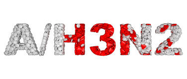 Swine Flu H3N2 epidemic - word assemled with pills. Isolated over white Stock Photo