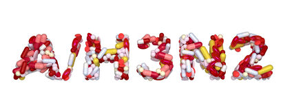 Swine Flu H3N2 virus - word assemled with pills. Isolated over white Stock Images