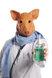 Swine Flu metaphor. Showing a Doctor with a hand sanitazer isolated on white Royalty Free Stock Images