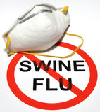 Swine Flu Prevention. Illustration depicting a no swine flu icon and a nose and mouth covering face mask Stock Images
