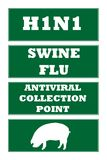 Swine flu road signs. Set of four Swine Flu, H1N1 virus road signs, isolated on white background Royalty Free Stock Photos