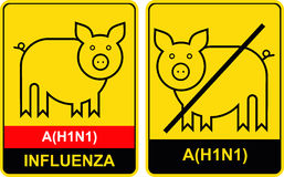 Swine flu - warning sign Stock Photography