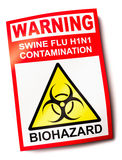 Swine flu warning sign. H1N1 showing biohazard symbol stock illustration