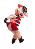 Swine mascot costume dance striptease in hat Stock Images