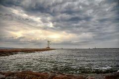 SwinemÃ-¼ nde - erleuchten Sie auf dem Pier stockfotografie