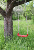 Swing. Red swing hanging from tree Stock Image