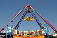 Swing in amusement park. Colorful swing in amusement park. Abstract background stock photo