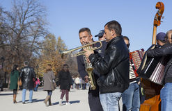 Swing band of street musicians playing in Retiro Park Royalty Free Stock Photos
