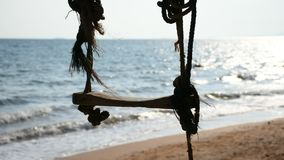 Swing at beach and blue sea stock video footage