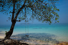 Swing on the beach. Swing for relaxation at the tropical beach, Koh Munnork Island, thailand stock photos