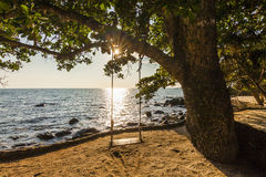 Swing on a beautiful beach at sunset. Koh Chang Stock Photo