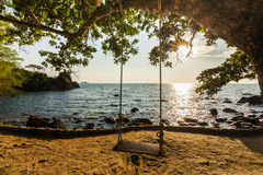 Swing on a beautiful beach at sunset. Koh Chang Royalty Free Stock Photos