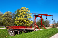 Swing bridge. The drawbridge over the moat of an old castle in Mariefred Stock Image