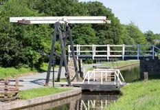 Swing bridge across the Llangollen canal Royalty Free Stock Photography