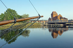 Swing bridge of Luebeck with bow of a sailing boat at the foreground Royalty Free Stock Photo