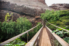 Swing bridge at the Menehune Ditch Royalty Free Stock Photography