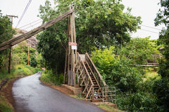 Swing bridge at the Menehune Ditch Stock Photos
