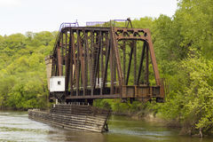 Swing Bridge. An old swing bridge on the Mississippi River in Minnesota Royalty Free Stock Images