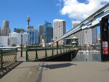 Swing bridge opens in Darling Harbour Stock Photography
