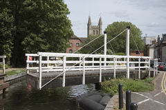 Swing bridge over an English canal at Newbury UK Stock Photos