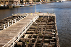 Swing Bridge Pier. Royalty Free Stock Photo