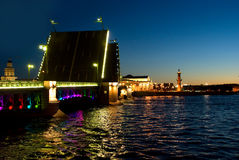 Swing bridge in St. Petersburg. Royalty Free Stock Images