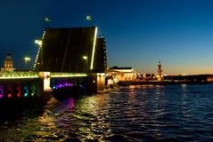 Swing bridge in St. Petersburg. Swing bridge in St. Petersburg on the night Royalty Free Stock Images