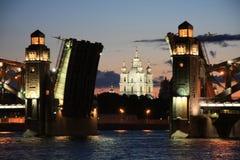Swing bridge in St. Petersburg, Russia Royalty Free Stock Photos