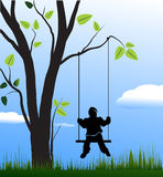 Swing and children. Vector illustration royalty free illustration