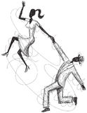 Swing Couple Sketch Stock Image