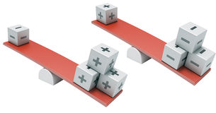 Swing of cubes. Swing illustrating the advantages and disadvantages Royalty Free Stock Photography
