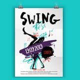 Swing Dance party poster with grunge stains, lines and modern shapes. Music event flyer.  stock illustration
