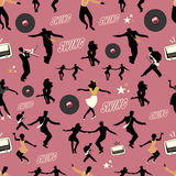 Swing dance pattern. Dancers and musicians. Retro style. Stock Images