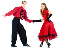 Swing dancers. Isolated on white Stock Photo