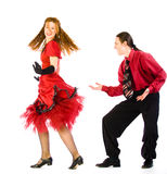 Swing dancers. Isolated on white Royalty Free Stock Photos