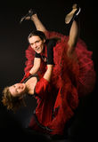 Swing dancers. On black background Stock Photography