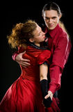 Swing dancers. On black background Royalty Free Stock Images