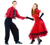 Swing dancers. On white background Royalty Free Stock Image