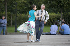 Swing dancers in vintage clothing Stock Images