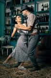 Swing dancers in a vintage coffee room royalty free stock image